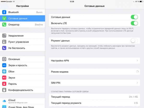 Экран настройки мобильного интернета на планшете iPad